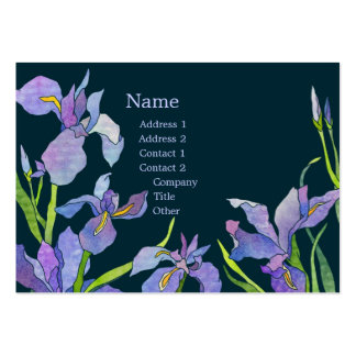 Elegant Purple Iris Navy Blue Business Cards