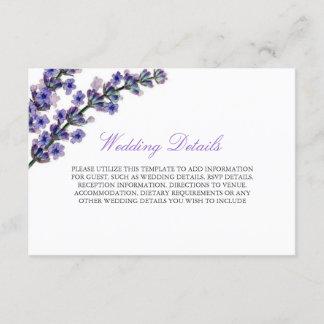 Elegant Purple Lavender Reception Details Card