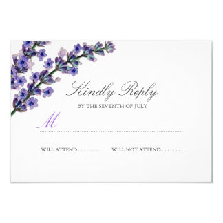 Elegant Purple Lavender Wedding RSVP Card