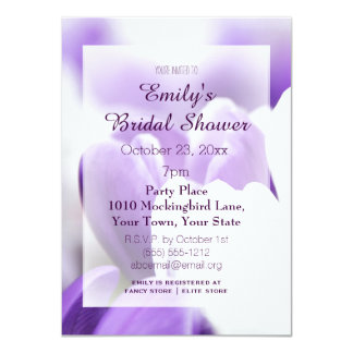 Elegant Purple Lavender White Tulip Bridal Shower Card