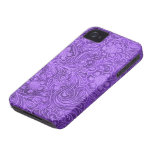Elegant Purple Leather Look Embossed Flowers iPhone 4 Case-Mate Cases