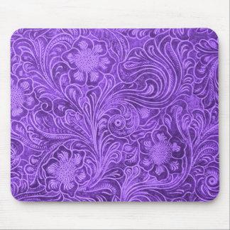 Elegant Purple Leather Look Floral Embossed Design Mouse Pad