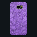 "Elegant Purple Leather Look Floral Embossed Design Samsung Galaxy S6 Case<br><div class=""desc"">Elegant purple leather texture print vintage flowers embossed digital effect design. It is available on other products. This is printed image of leather with embossed floral pattern.</div>"