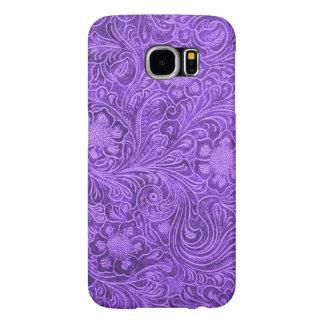 Elegant Purple Leather Look Floral Embossed Design Samsung Galaxy S6 Case