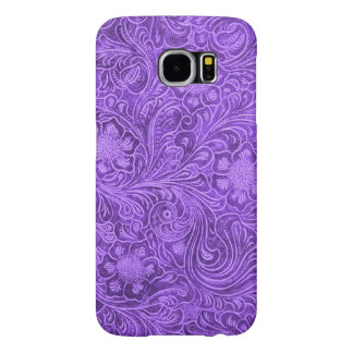 Elegant Purple Leather Look Floral Embossed Design Samsung Galaxy S6 Cases