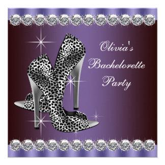 Elegant Purple Leopard Bachelorette Party Custom Invite