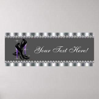 Elegant Purple Leopard High Heel Shoe Party Banner Print