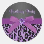 Elegant Purple Leopard Stickers