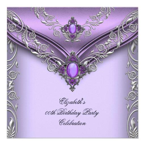 Elegant Purple Lilac Silver Jewel Birthday Party Personalized Invitation