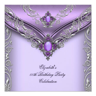 Elegant Purple Lilac Silver Jewel Birthday Party Personalized Invitation