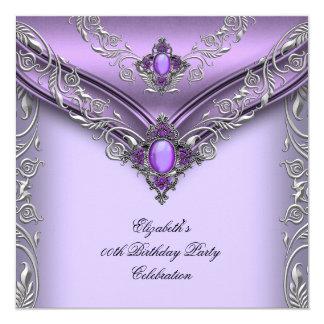 Elegant Purple Lilac Silver Jewel Birthday Party Invitation