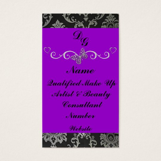 Elegant purple make up artist business card