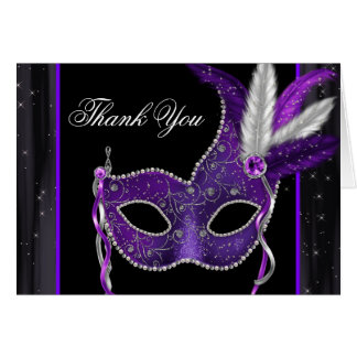 Elegant Purple Masquerade Party Thank You Card Note Card