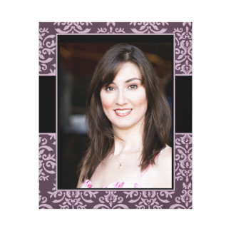 Elegant Purple Mauve Damask Photo Frame Canvas Print