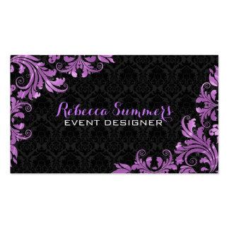 Elegant Purple Metallic Lace Black Damasks Business Card