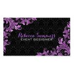 Elegant Purple Metallic Lace Black Damasks Double-Sided Standard Business Cards (Pack Of 100)
