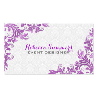 Elegant Purple Metallic Lace White Damasks Double-Sided Standard Business Cards (Pack Of 100)