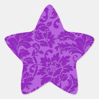Elegant Purple Monochromatic Vintage Floral Damask Star Sticker