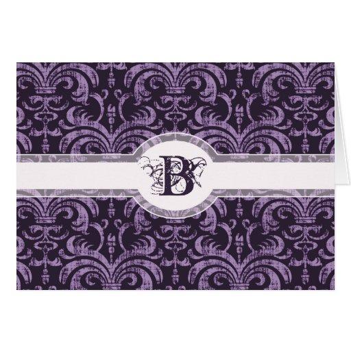 Elegant Purple Monogram Gothic Damask Thank You Card