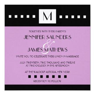 "Elegant Purple Monogram Wedding Invitation 5.25"" Square Invitation Card"