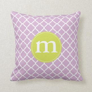 Elegant Purple Moroccan Quatrefoil Personalized Throw Pillows