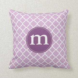 Elegant Purple Moroccan Quatrefoil Personalized Pillows