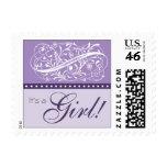 Elegant Purple New Baby Customized Postage Stamp