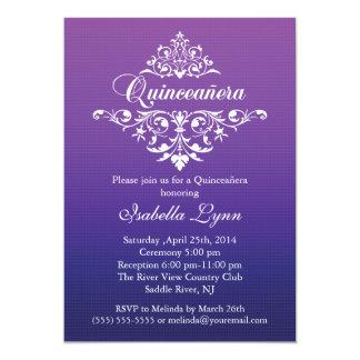 Elegant Purple Ombre Quinceañera Party Card
