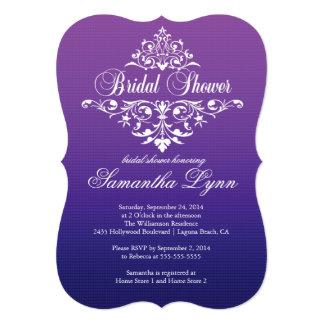 "Elegant Purple Ombre wBridal Shower Invitation 5"" X 7"" Invitation Card"