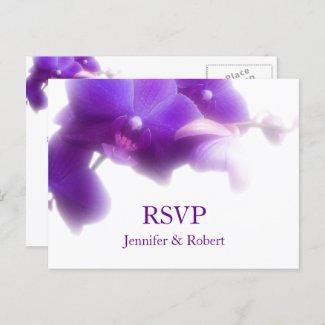 Elegant Purple Orchid Floral Wedding RSVP Invitation Postcard