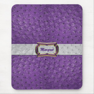 Elegant Purple Ostrich Leather Look Mouse Pad
