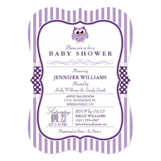 Elegant Purple Owl Baby Shower Invitation