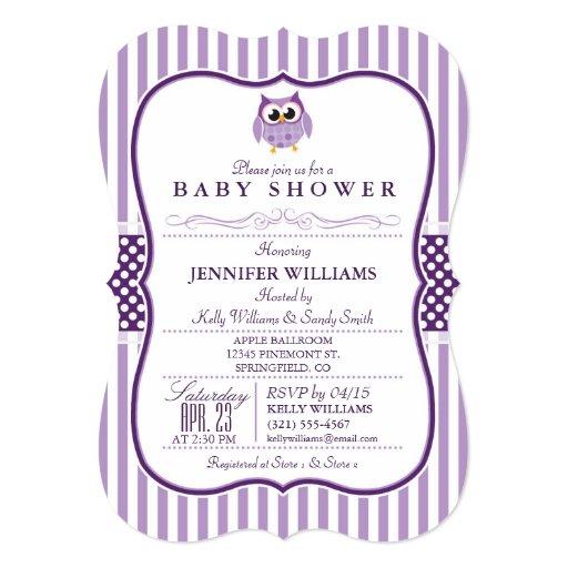 elegant purple owl baby shower invitation zazzle