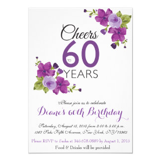 Elegant Purple Paint Flower 60th Birthday Invite
