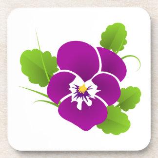 Elegant Purple Pansy Drink Coaster