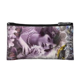 elegant purple paris vintage flapper girl fashion cosmetic bags