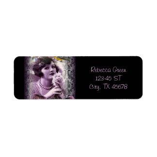 elegant purple paris vintage flapper girl fashion return address label