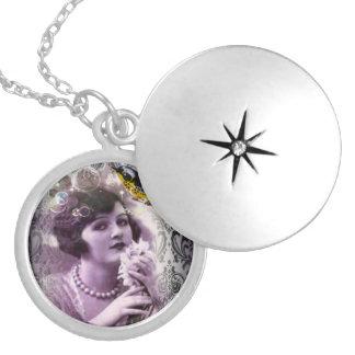 elegant purple paris vintage flapper girl fashion pendants