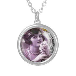 elegant purple paris Vintage flapper Lady Necklaces