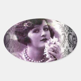 elegant purple paris Vintage flapper Lady Oval Sticker