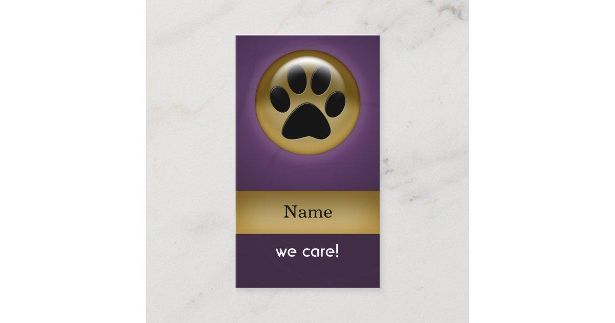 elegant purple paw print pet care Business Cards