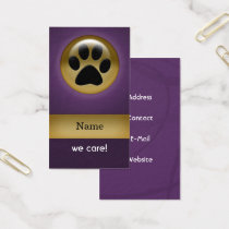 elegant purple paw print pet care Business Cards