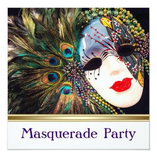 Elegant Purple Peacock Masquerade Party Announcement