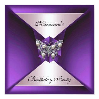 Elegant Purple Pearl Jewel Birthday Silver & White Invitation