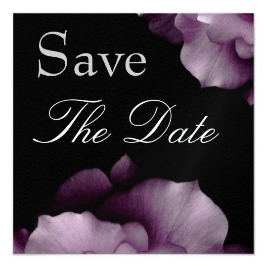 Elegant PURPLE Petals Wedding Save the Date Invite