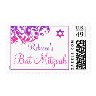 Elegant Purple Pink Flourish Bat Mitzvah Postage Stamp