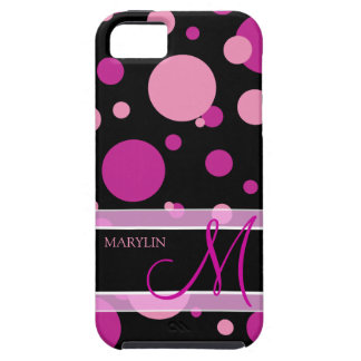 Elegant Purple & pink polka dots with monogram iPhone 5 Cases