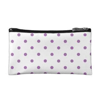 elegant purple polka dots cosmetic bag