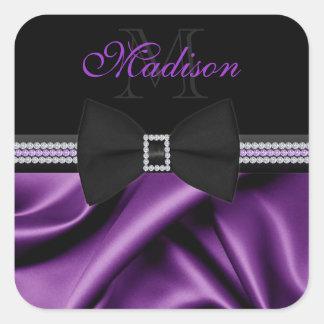 Elegant Purple Printed Satin Bow Gems Custom Name Square Sticker