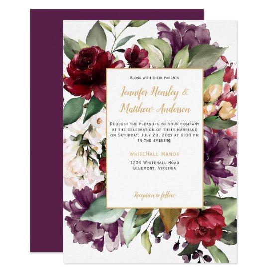 Elegant Purple Red Gold Floral Explosion Wedding Invitation